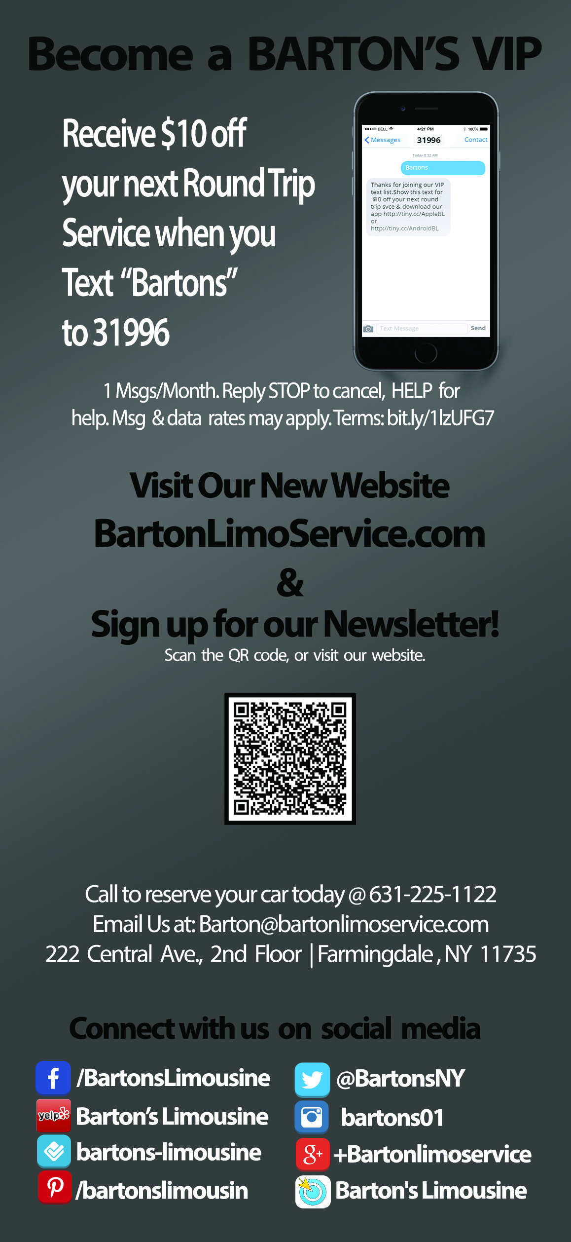 Bartons Limo Rack Card